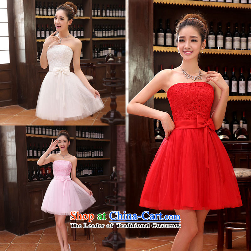 Short of bridesmaid small dress skirt marriages wedding dress stylish lace bows serving dinner serving bridesmaid XXL, Charlene Choi spirit has been pressed white shopping on the Internet