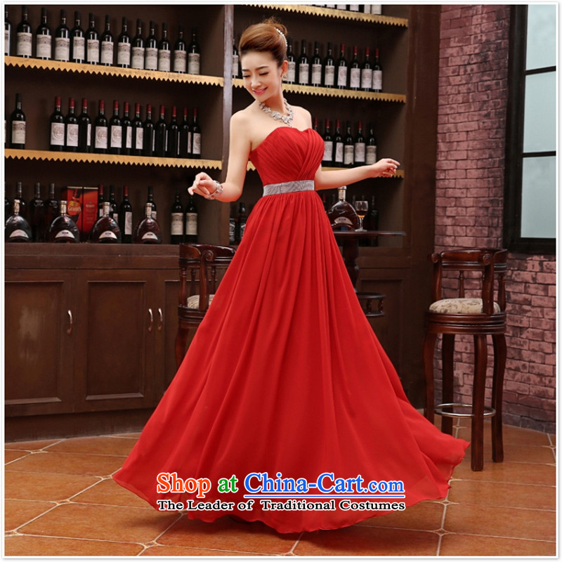 Charlene Choi Ling marriage wedding dresses short_ equipped bridesmaid to bind with short of marriage evening dresses marriage small red dress?M
