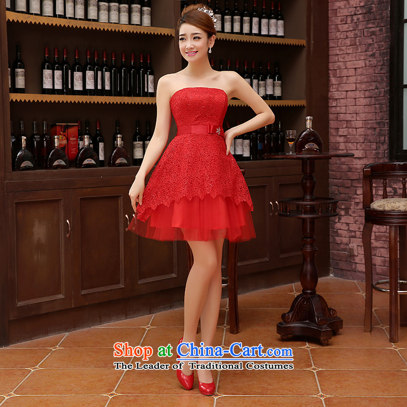 Charlene Choi Ling bridesmaid short of small dress skirt marriages wedding dress stylish lace bows serving dinner serving bridesmaid red?s