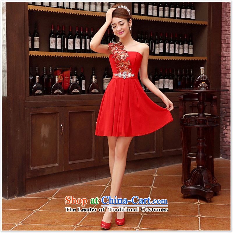 2015 new sister bridesmaid mission bridesmaid dress lace anointed chest bow ties small dress evening dress Korean Red XL