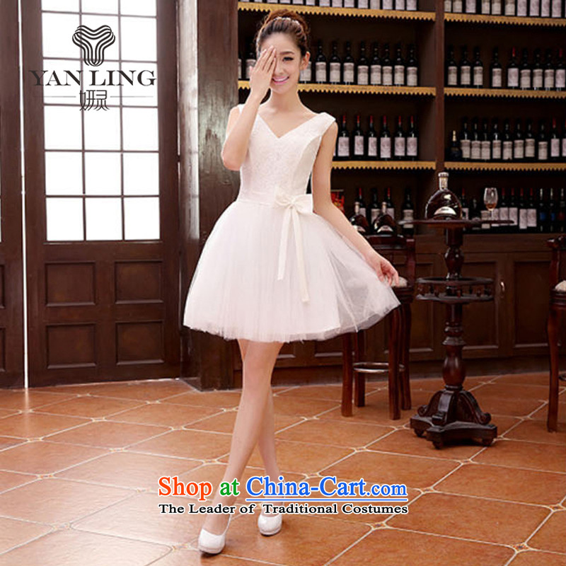 Short of bridesmaid small dress skirt marriages wedding dress stylish lace bows serving dinner serving bridesmaid M