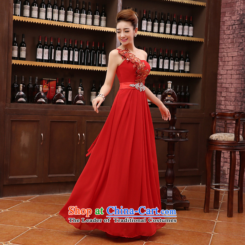 The Korean version of the new 2015 Red single shoulder length) Bride straps wedding dress bows services evening dresses annual dress M red�s