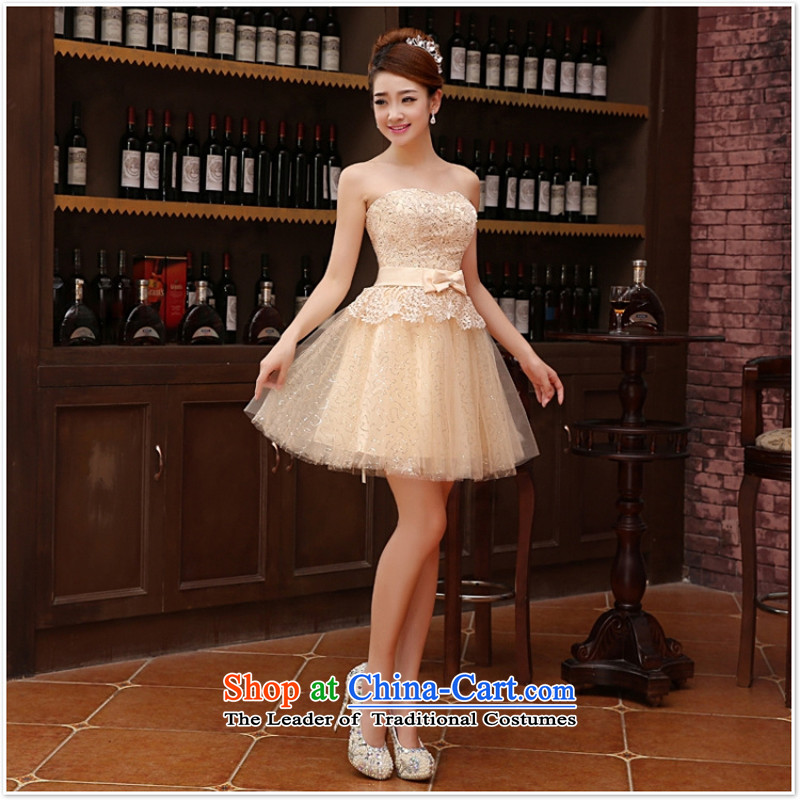 Wedding dress bride bows services 2015 new wedding dress bridesmaid serving evening dress short, Shoulder Strap Light Yellow?XL