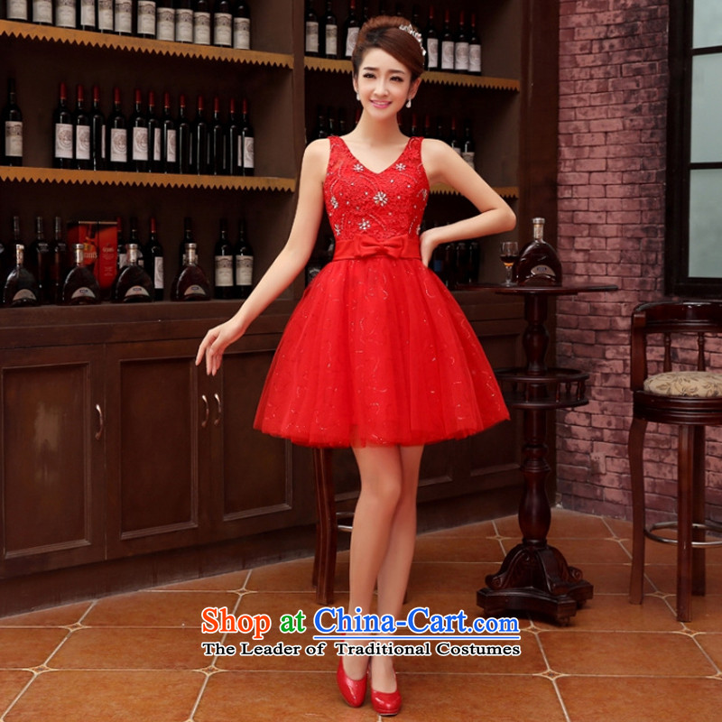 Charlene Choi Ling marriage wedding dresses short_ equipped bridesmaid to bind with short of marriage evening dresses marriage small red dress?XL