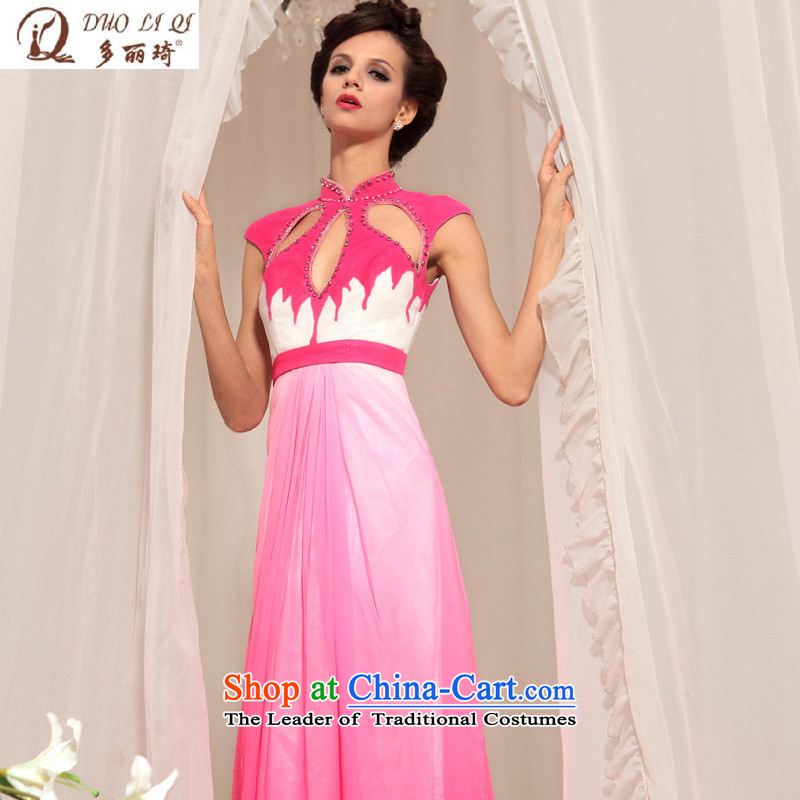 Doris Qi banquet dress marriages and sexy long dresses bride dress uniform western dress bows pink XXL