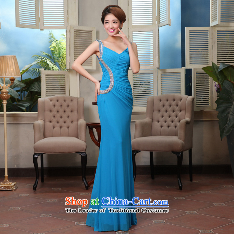 Hei Kaki New 2015 autumn and winter in a variety of colors and sexy charm long banquet bridesmaid services X0005 SKYBLUE L