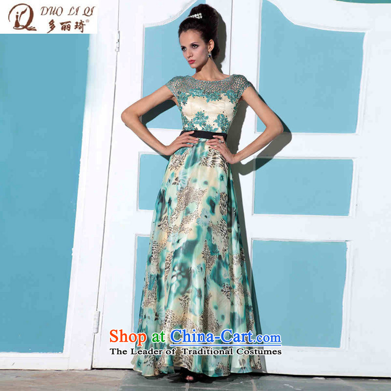 Doris Qi shoulders leopard evening dresses banquet company annual western dress wedding dress green?S