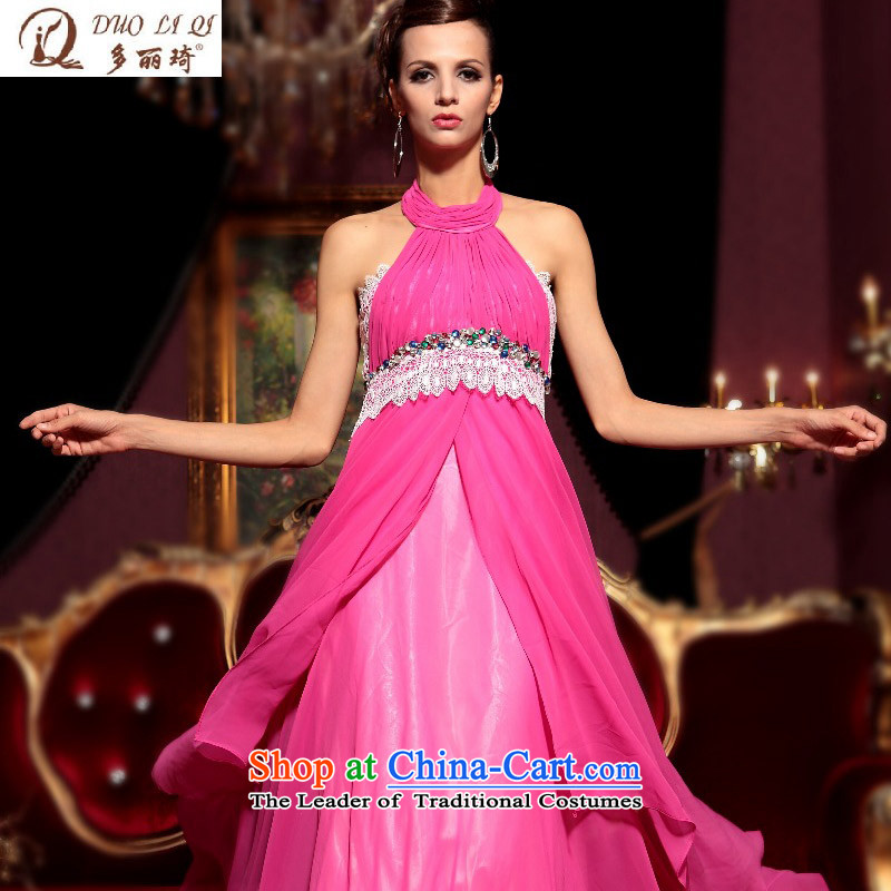 Doris Qi long gown wholesale pink wall also dress western bows dress evening dresses pink聽L