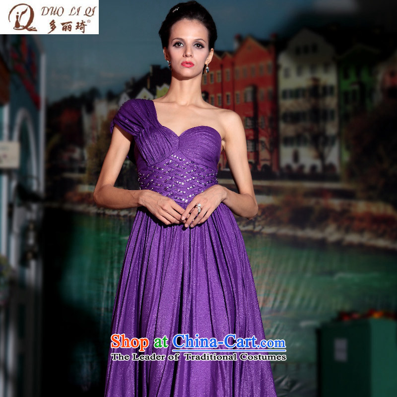 Doris Qi western dress deep purple classy performances dress banquet dress exhibition evening dresses purple?L