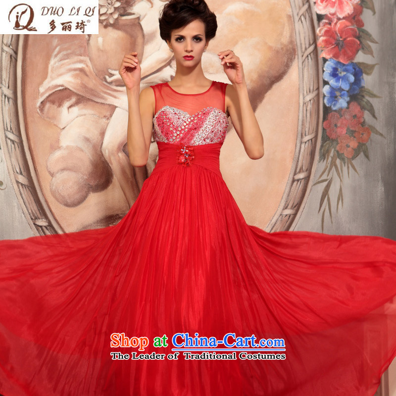 Doris Qi western dress bride red irrepressible atmospheric dress bows service banquet dresses marriage RED M