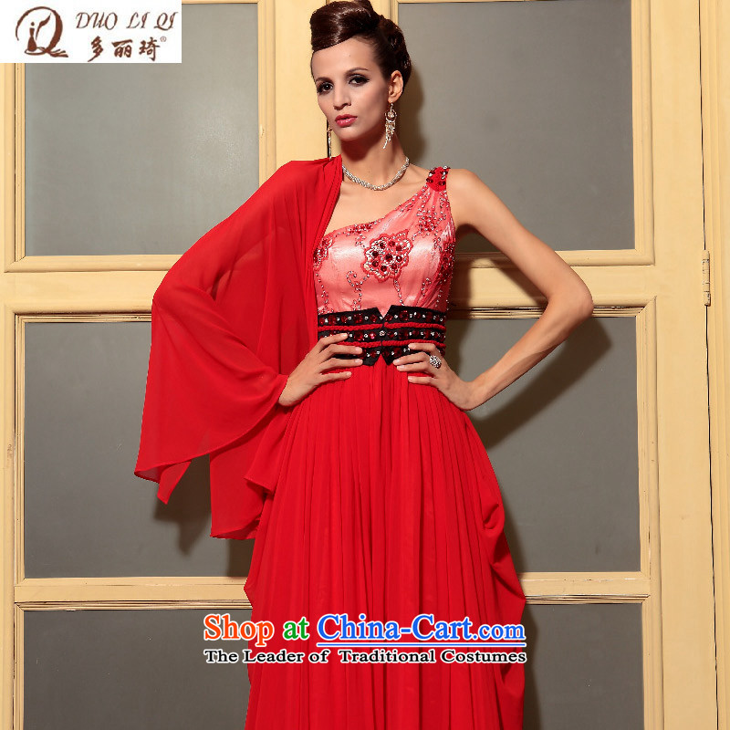 Doris Qi red embroidery shoulder elegant evening dresses marriage bows dress performances of foreign trade dress?30787?Red?XXL