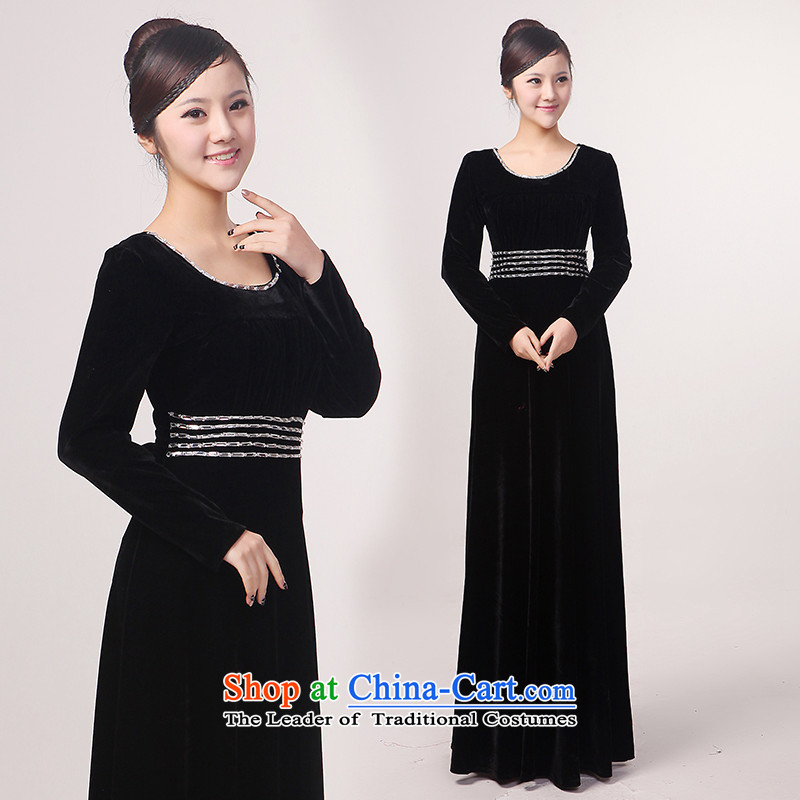 Charlene Choi Torino Winter long-sleeved clothing chorus black velvet chorus in older choral clothing choral conductor services Black?XL