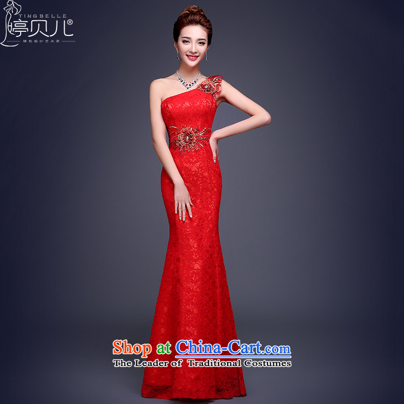 However Service Bridal 2015 New Red single shoulder length of winter evening dress married crowsfoot banquet annual Sau San Red?L