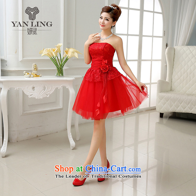 The bride wedding dress red short of water-soluble lace bows services under the auspices of the annual meeting of the Sau San evening dresses LF227 RED L