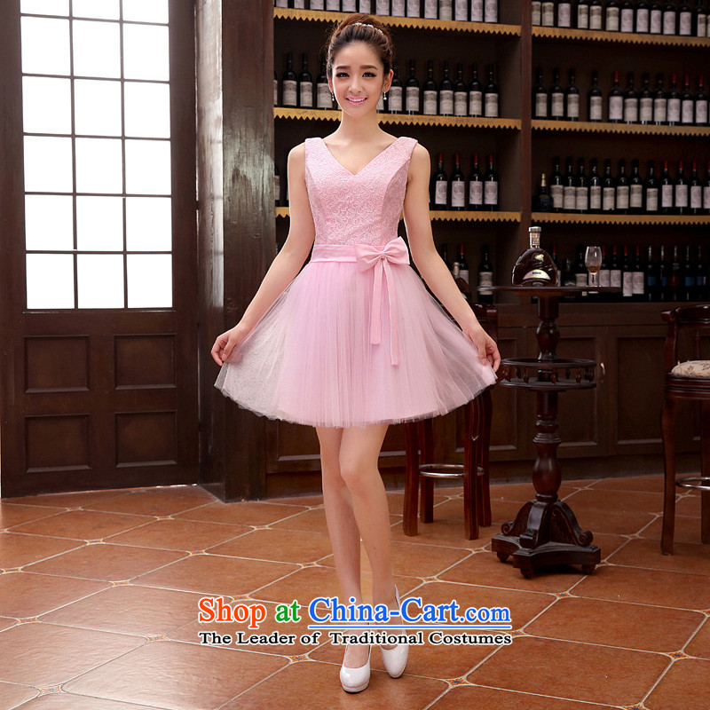 The new pink dresses bride wedding dress bows services zipper shoulders V-Neck short dress XXL