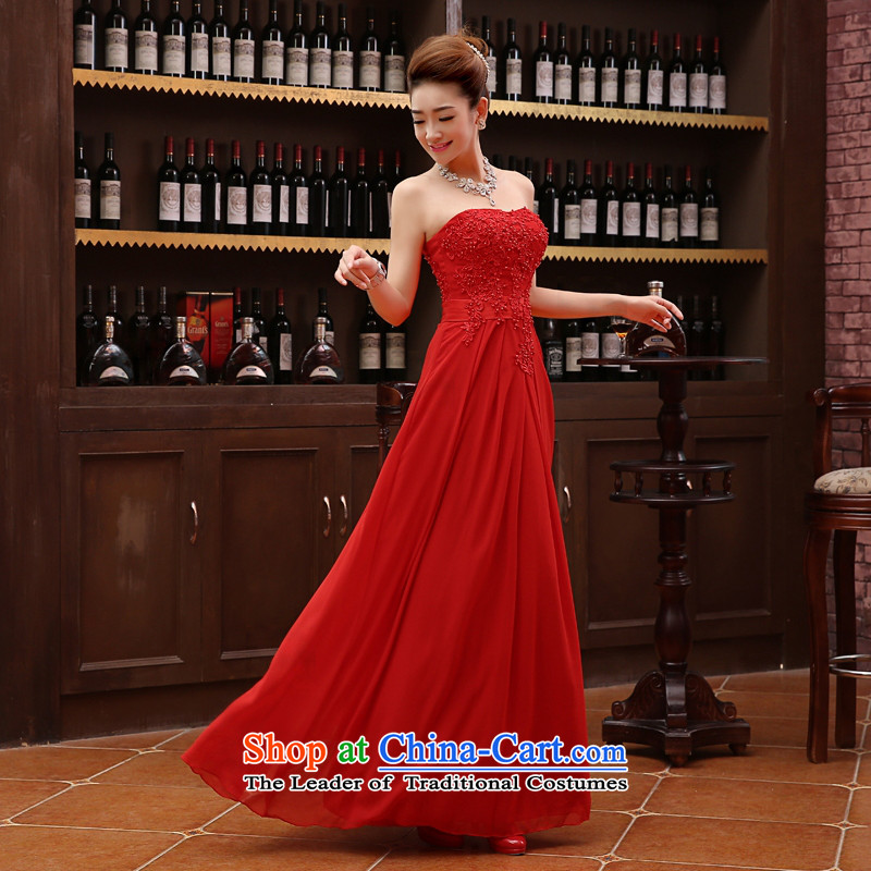 The autumn and winter bridesmaid mission dress red evening dresses skirts sister 2015 new wedding dresses long bridesmaid?L