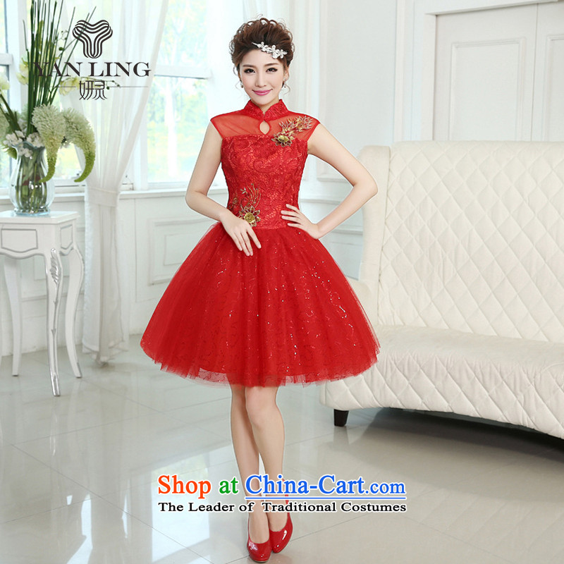 The new Word 2015 shoulder The Princess Bride bon bon skirt flowers of marriage for short wedding dress bridesmaid skirt LF260 RED XXL