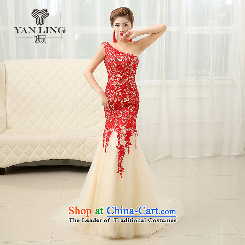 2015 Marriage bows to shoulder a crowsfoot dress Korean new strap evening dress thin LF264 Sau San video L