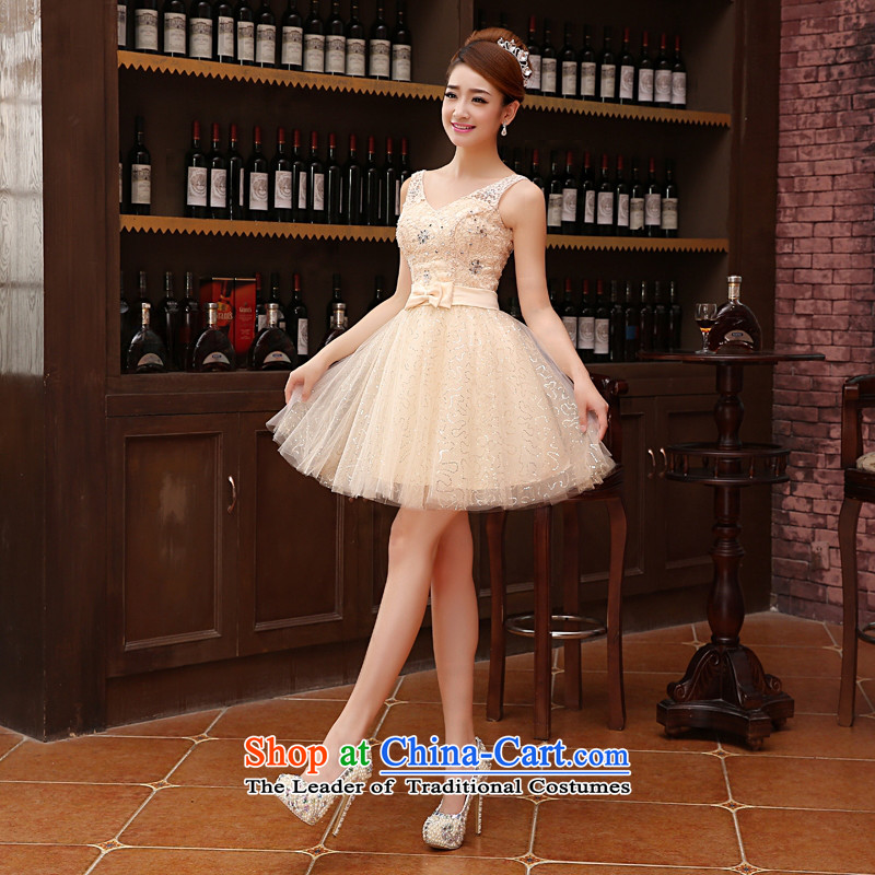 2015 new lace wedding dresses, small short skirt evening dress performances bride services bridesmaid banquet bows service? m?flesh?M