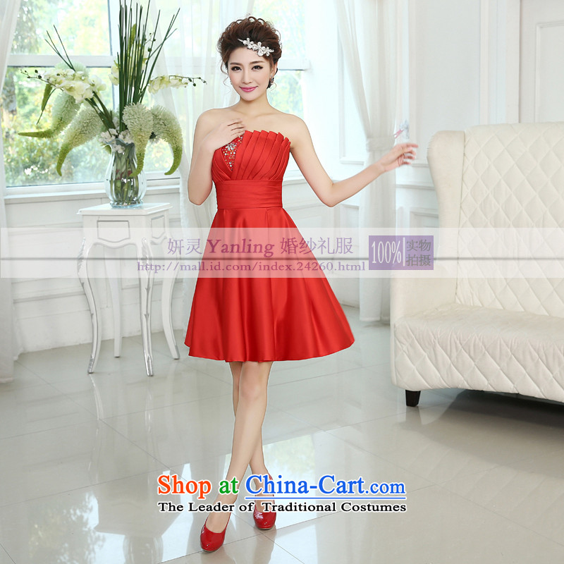 15 new stylish Korean bridal services wedding dress bows bridesmaid mission sister small dresses short cluster LF182 RED?M