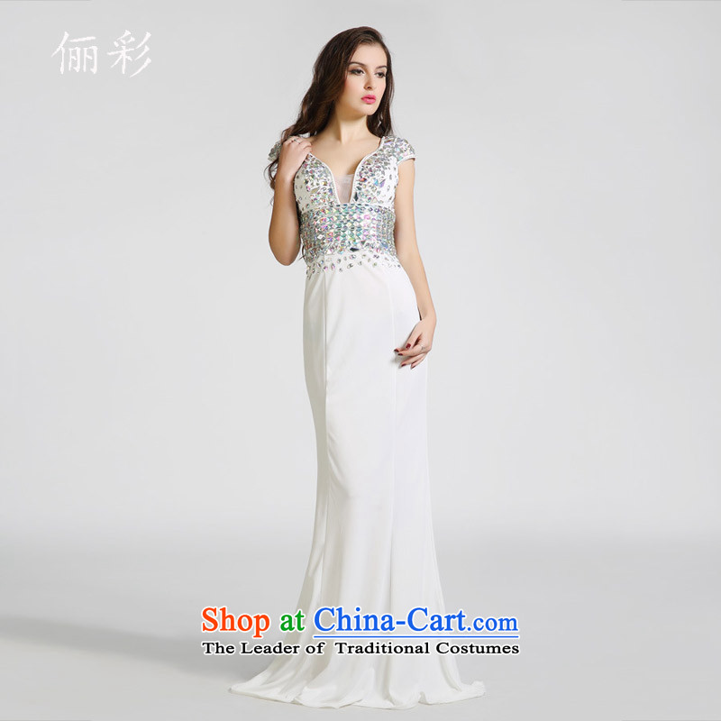 158 multimedia evening dresses Company Annual Meeting banquet dress long moderator show Sau San evening dresses long skirt white?S