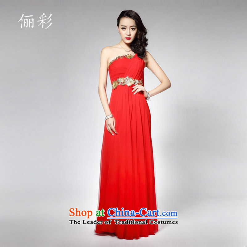 158 multimedia evening dresses long alignment to the chiffon skirt the floral decorations shoulder dress red?S