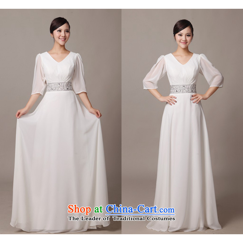 Charlene Choi Ling white long-sleeved V-Neck will serve chorus girl long skirt choral clothing female long skirt White?M