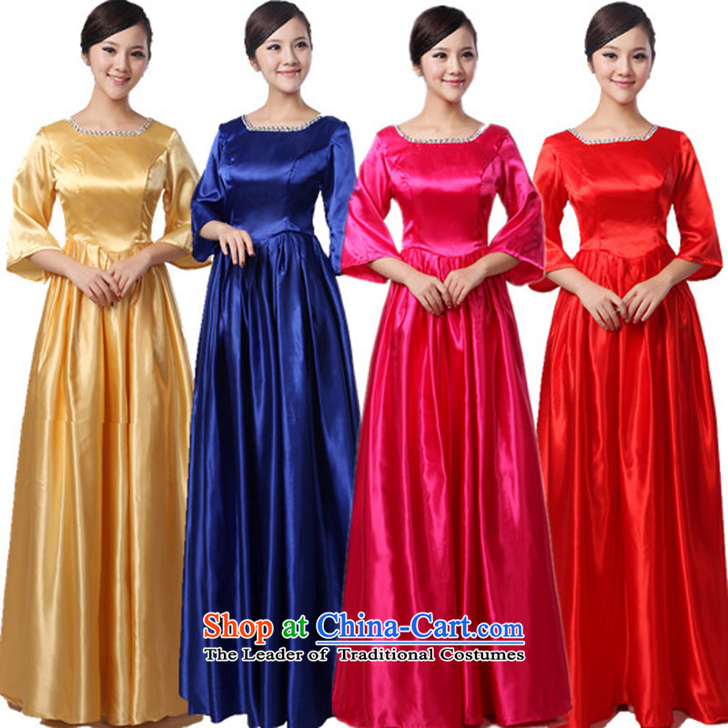 Charlene Choi Ling new offer long chorus services in elderly choir sing clothing female long skirt yellow?L