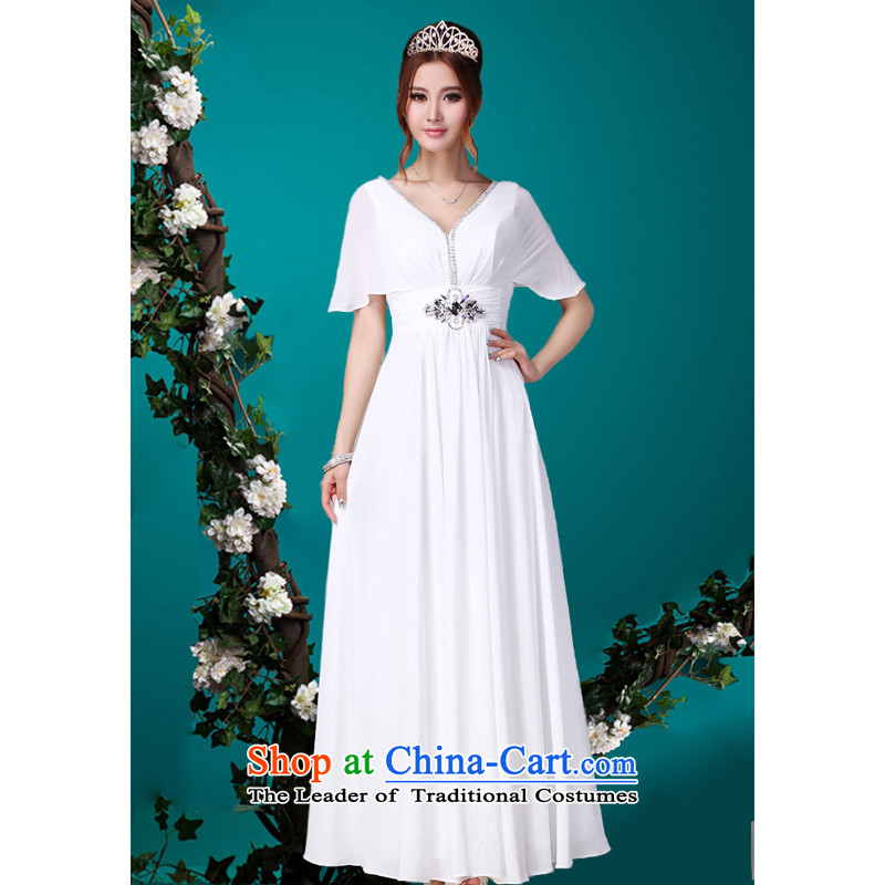 Charlene Choi Ling long white, under the auspices of the costumes chorus clothing command service marriages bows dress?XXL