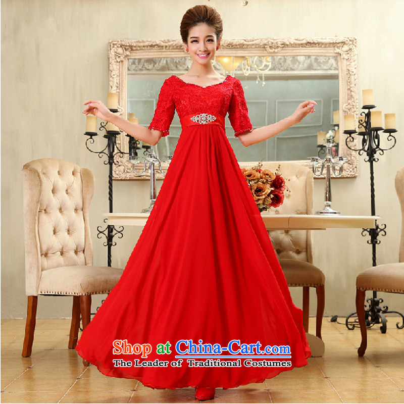 Charlene Choi Ling marriages bows long high-lumbar evening dresses female new spring 2014 lace in cuff red pregnant women dress?XXL