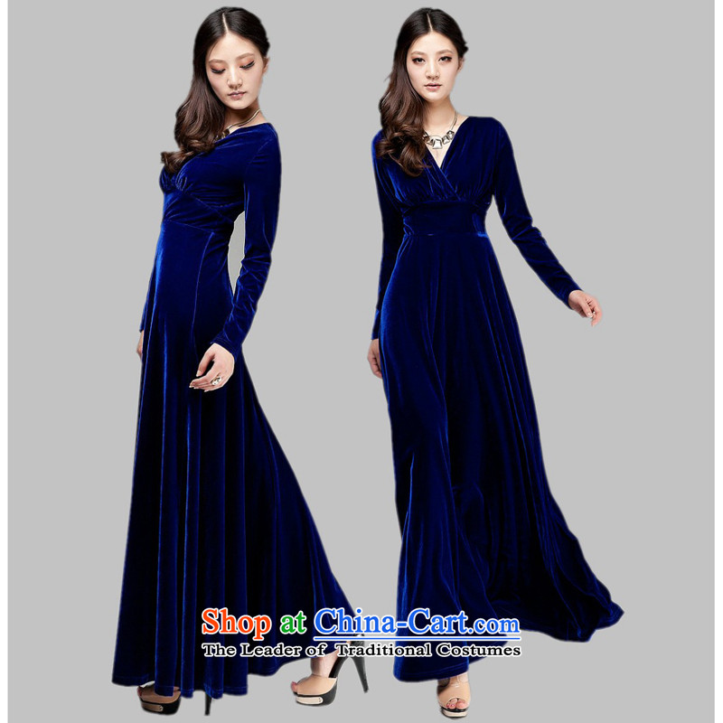 Charlene Choi Ling new women's long-sleeved command service Kim velvet choral service long evening dresses stage costumes under the auspices of decorum?S