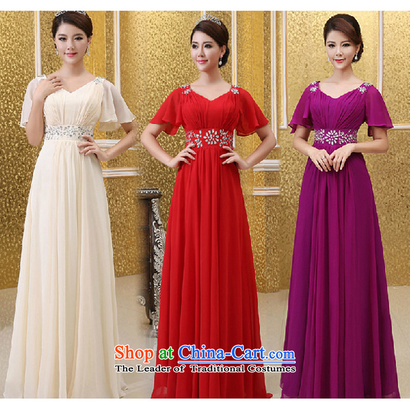 Charlene Choi Ling large chiffon nail pearl choral clothing female long skirt choral services command service chorus girl dress uniform?XL