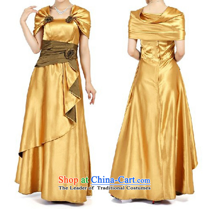Charlene Choi Ling Special Gold Package shoulder length of service under the auspices of chorus choral clothing marriages bows evening dresses?L