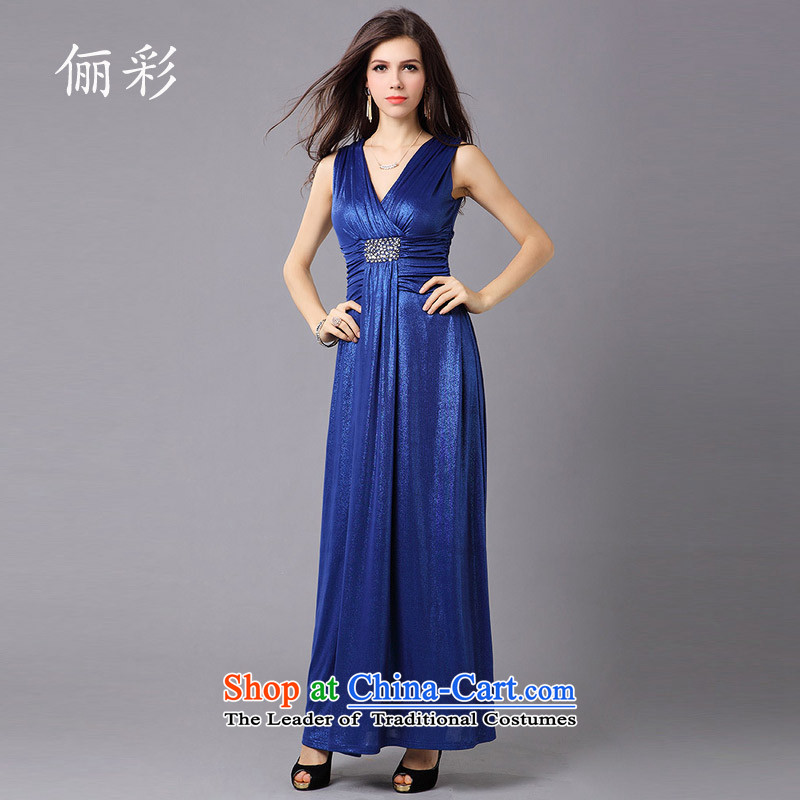 158 multimedia evening dresses Sau San deep V-Neck evening dress long appointments, declares dress dresses Blue?M