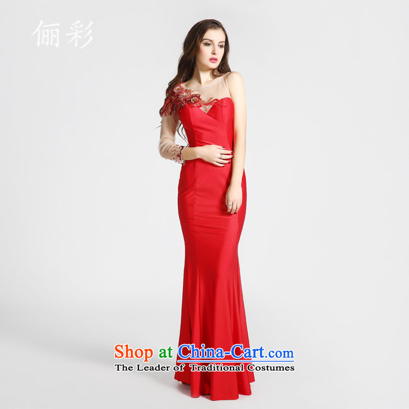 158 multimedia evening dresses annual banquet crowsfoot dress long serving evening drink bridal dresses long skirt RED?M