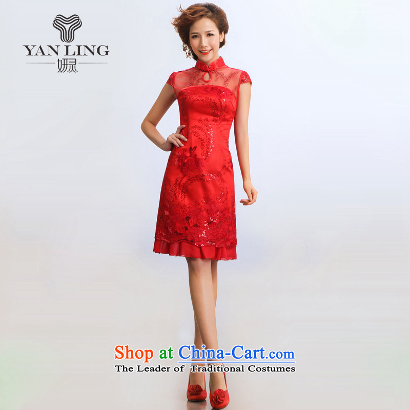 2015 new stylish sleek summer qipao improvement will bride cheongsam red?XL