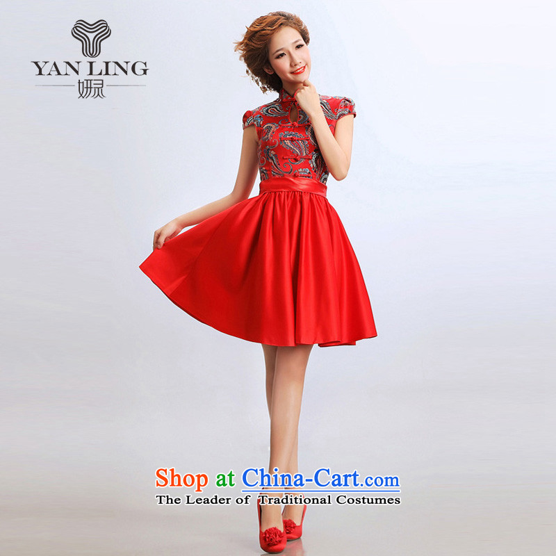 2015 short skirts, stylish qipao cheongsam wedding dresses improved bride wedding dress cheongsam RED M