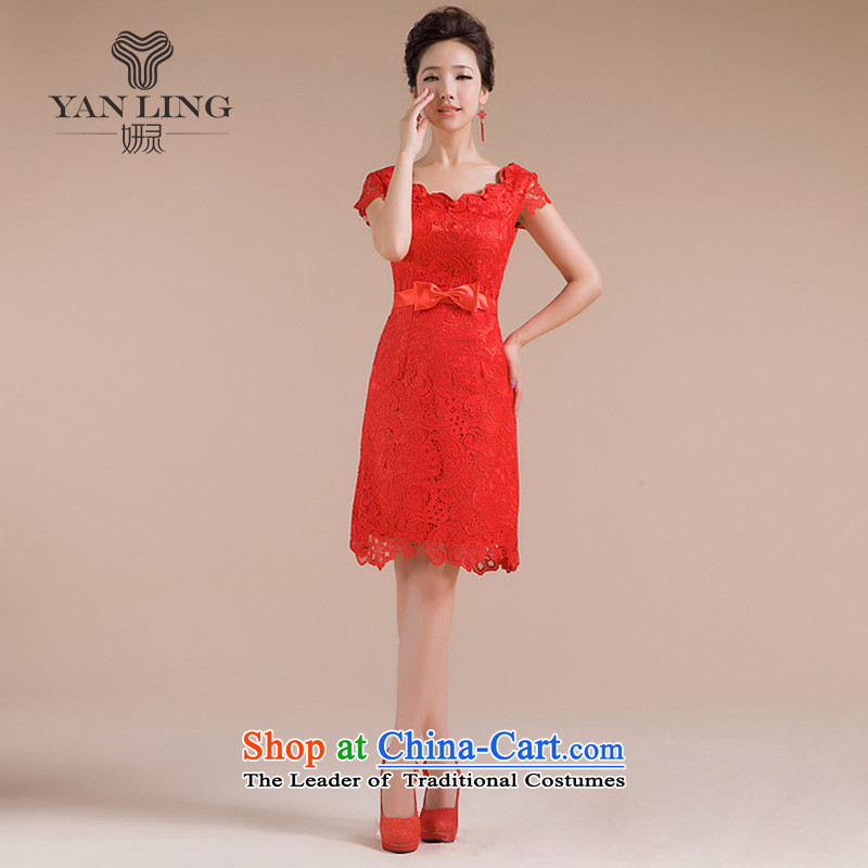 20152014 new cheongsam spring pack shoulder short, red qipao lace bows service stylish QP-108 RED?L