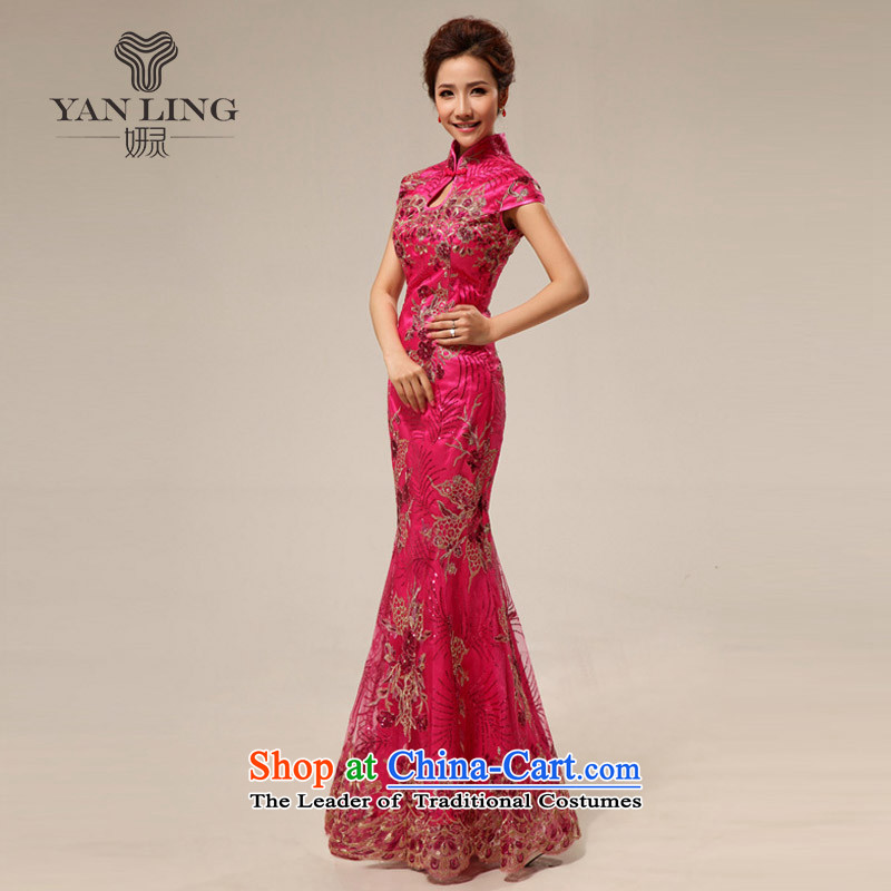 2015 Marriage Ceremonies qipao retro improved courtesy service cheongsam dress summer stylish 67 _Ko Yo red_ pink?XL