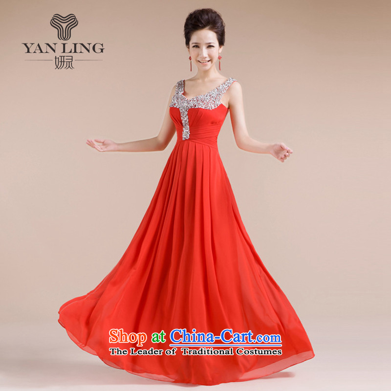 The new bride 20152014 wedding dress dinner dress uniform LF-1005 bows red?L