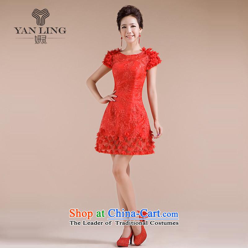 2015 new dress threw his shoulders lace skirt as small red dress LF153 Sau San�XXL