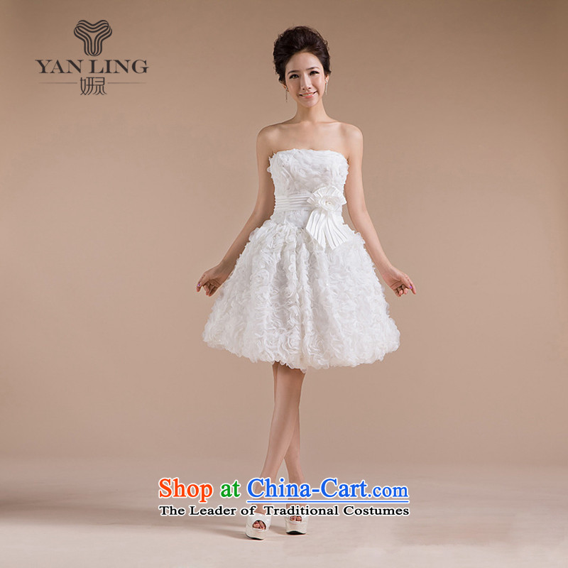 The new 2015-staple beads on the breast tissue is three-dimensional flowers small dress LF71 m White M