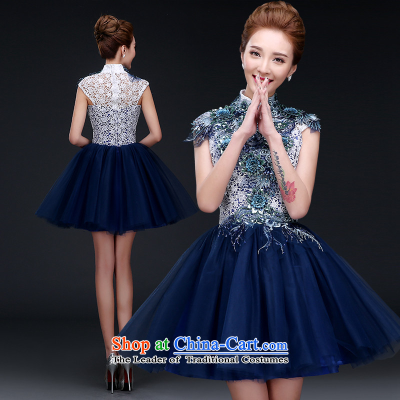 Lily Dance evening dress short of autumn and winter 2015 new dark blue marriage bridesmaid sister skirt banquet annual service evening dress dark blue S   new pre-sale three to five day shipping