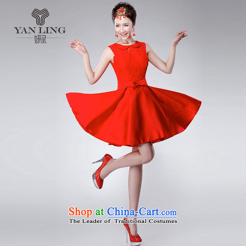 2015 new marriage bows services red double-shoulder and sexy small Dress Short_ won the wedding-dress LF175 RED XXL