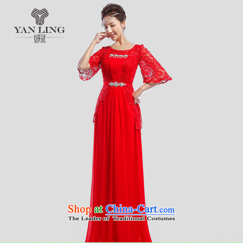 2015 new bride bows dress marriage banquet long evening dress LF501 moderator red聽s