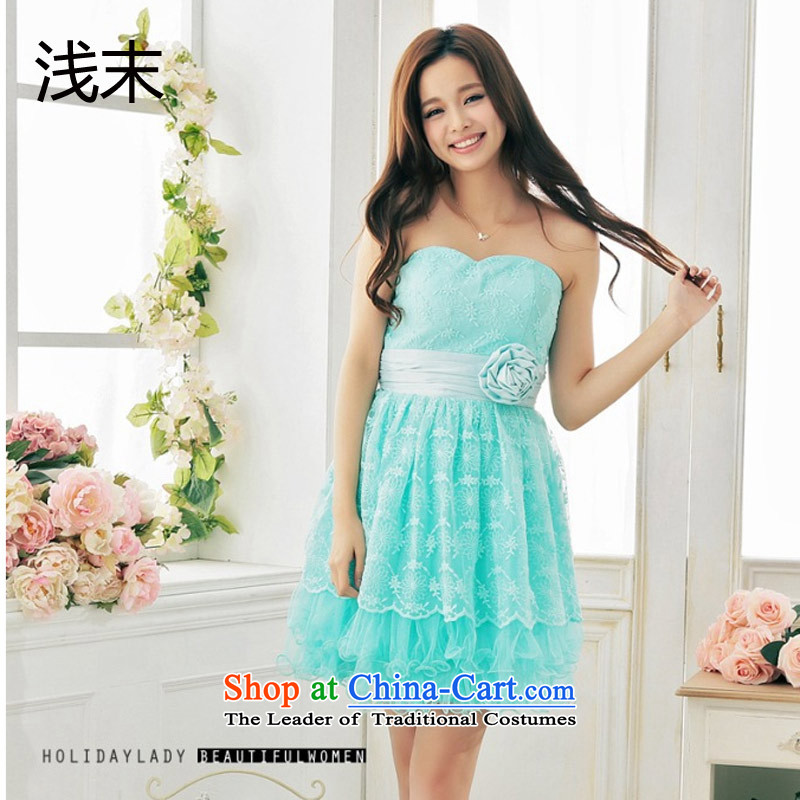 The end of the light (MO) QIAN mahogany and anointed with the blossoms population chest stitching Mesh bon bon dress skirt dresses 3382 green?L