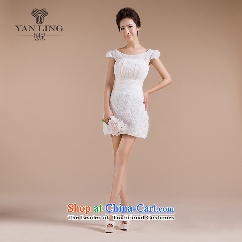 2015 New 2 shoulder strap skirts of the floral decorations sweet elegant small dress LF146 white s