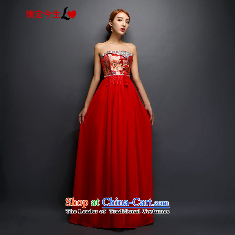 Maximum number of this life shoulder cheongsam 2015 new anointed chest bows to sepia diamond macrame long marriage evening dresses and zip chest) shawl?L