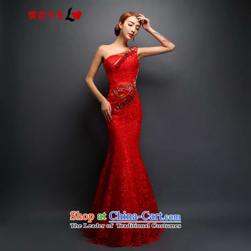 Love of the overcharged dress shoulder bride bows services red long water-soluble embroidery lace diamond retro crowsfoot sexy dress Sau San video THIN RED M
