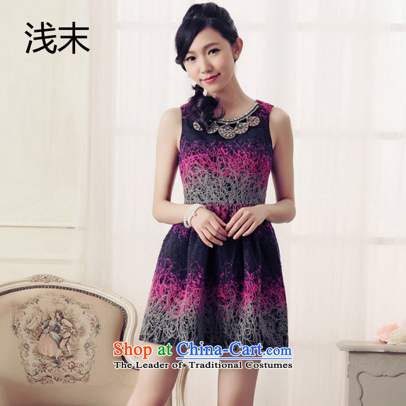 The end of the light _MO_ QIAN aristocratic video thin Sau San activity ornaments luxury sleeveless temperament small Heung-dresses dress 6 019 PURPLE?M